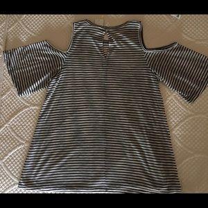 BCBGeneration Tops - BCBG Oversized Striped Cold Shoulder Tee Top